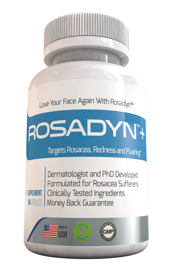 Rosacea symptoms of redness, inflamation, acne, broken blood vessels, itchy burning skin, inflamation, Rosadyn Plus helps with rosacea symptoms from the inside out